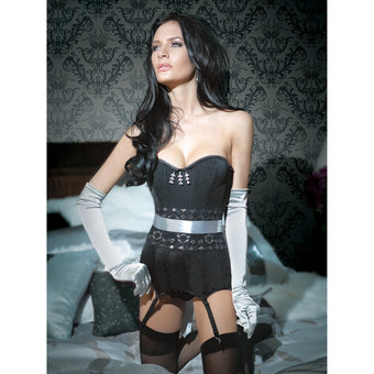 Coquette Spellbound Corset and Satin Restraint Set