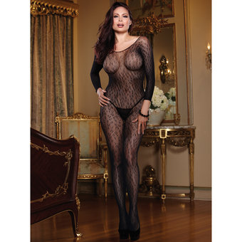 Dreamgirl Black Diamond Plus Size Leopard Print Crotchless Bodystocking