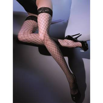 Gabriella Kabarette Silicone Lined Fishnet Hold Up Stockings