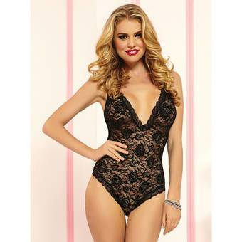 Seven Til Midnight Sheer Lace Teddy with Plunging Bust