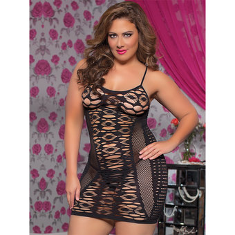 Seven Til Midnight Plus Size Mix It Up Holey Mini Dress