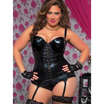 Seven Til Midnight Plus Size Wet Look Bustier