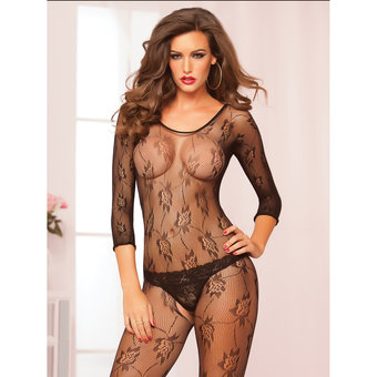 Seven Til Midnight Floral Lace Crotchless Bodystocking