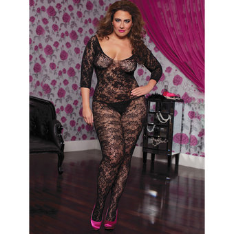 Seven Til Midnight Plus Size Bodystocking mit geblümter Spitze