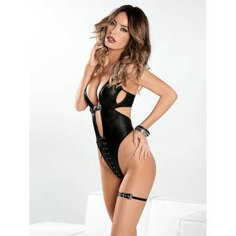 Escante Stretchy Wet Look Teddy Set
