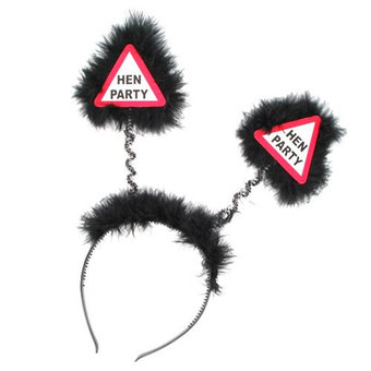 Warning Hen Party Black Fluffy Boppers