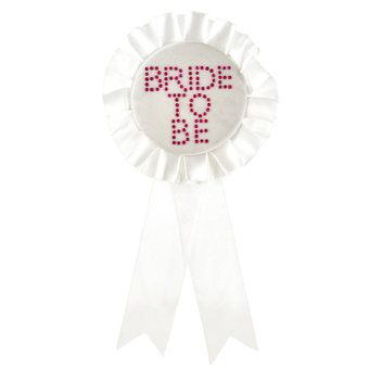 Bride to Be White Diamante Rosette