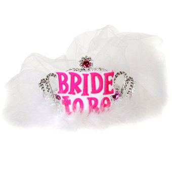 Miss-Chief Bride To Be Tiara with Veil