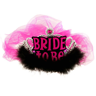 Miss-Chief Bride to Be Tiara with Pink Veil