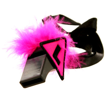 Miss-Chief Hen Night L Plate Whistle Necklace with Pink Feathers