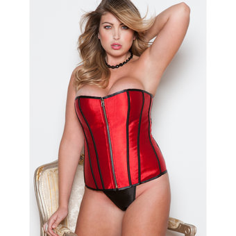 iCollection Plus Size Victorian Brocade Reversible Satin Corset