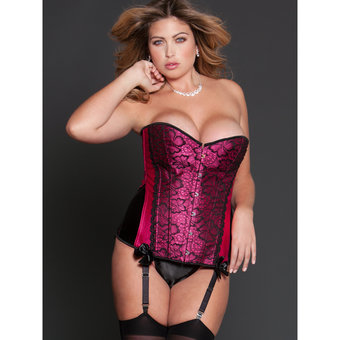 iCollection Plus Size Korsett mit Spitzenbesatz