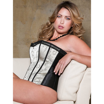 iCollection Plus Size Victorian Brocade Satin Corset