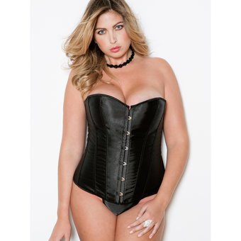 iCollection Plus Size Sweetheart Satin Corset