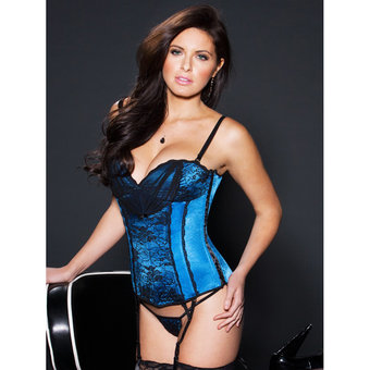 iCollection Floral Lace and Lycra Sweetheart Bustier Set