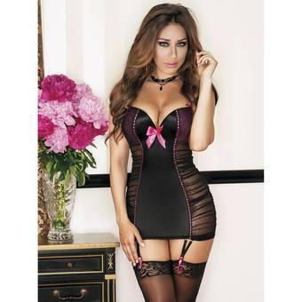 iCollection Jacquard Opaque and Mesh Chemise Set