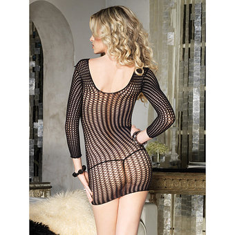 Leg Avenue Long Sleeved Crocheted Mini Dress