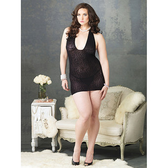 Leg Avenue Plus Size Leopard Print Lace Mini Dress