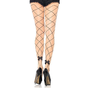 Leg Avenue Wide Net Tights with Satin Bows