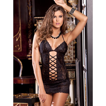 Rene Rofe Criss Cross Lace Chemise and G-String Set