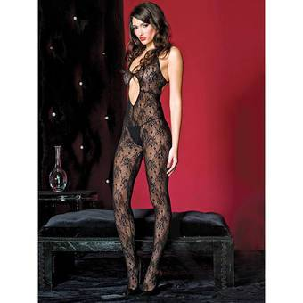 Music Legs Lace Crotchless Bodystocking with Keyhole Front