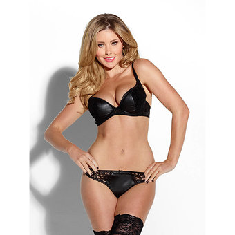 Kiss Me Wet Look Bra and Thong Set
