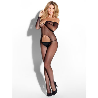 Kiss Me Off the Shoulder Crotchless Bodystocking