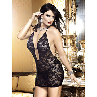 Baci Lingerie Plus Size Deep V Flower Lace Dress