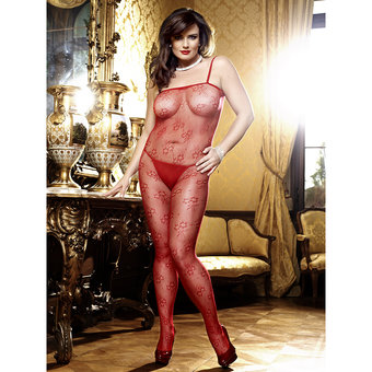 Baci Lingerie Plus Size Floral Lace Bodystocking