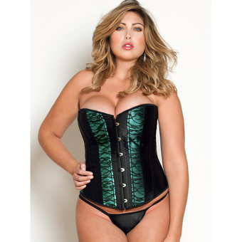 iCollection Plus Size Satin Corset with Lace Overlay