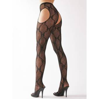 Cottelli Ribbon Pattern Crotchless Tights