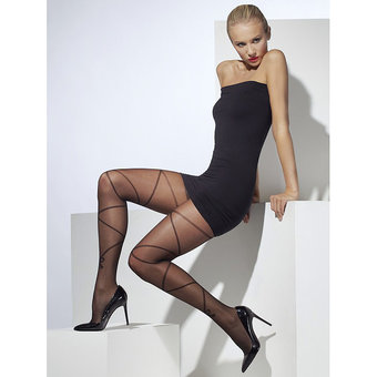 Fever Sheer Lace Up Patterned Tights