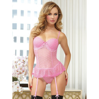 Seven Til Midnight Be Mine Heart Sheer Lace Bustier