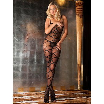 Rene Rofe Criss-Cross Pattern Sheer Bodystocking
