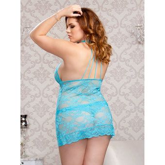 iCollection Plus Size Stretch Lace Princess Cut Sexy Chemise