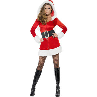 Fever Hooded Sexy Santa Dress with Belt