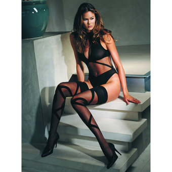 Leg Avenue Opaque Sheer Body and Stocking Set