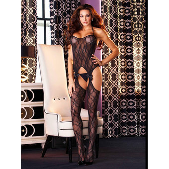 Electric Sheer Lace Bodystocking with Cut Outs