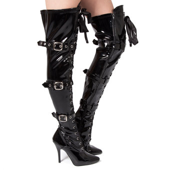 Pleaser Seduce Lace Up Patent Thigh High Boots