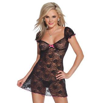 Coquette See Through Floral Lace Mini Dress