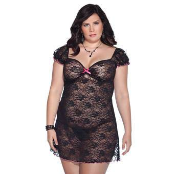 Coquette Plus Size See Through Floral Lace Mini Dress