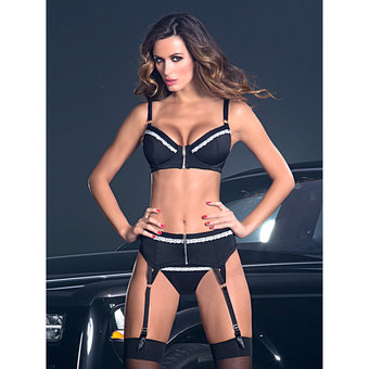 Oh La La Cheri Zip Front Bra and Garter Belt Set