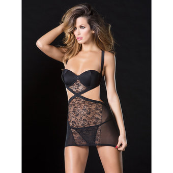 Oh La La Cheri Cut Out Lace Babydoll with G-String