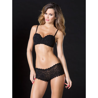 Oh La La Cheri J'adore Burnout Velvet Bra and Knicker Set