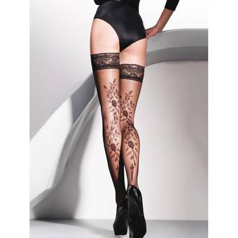 Gabriella Vera Lace Top Floral Patterned Hold Up Stockings