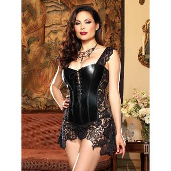 Dreamgirl Plus Size Beyoncé Faux Leather and Lace Corset