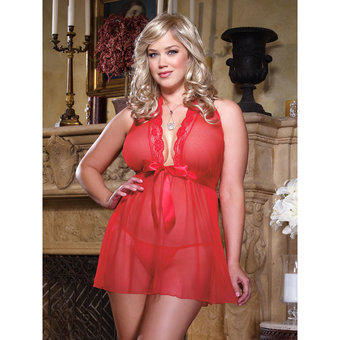 Dreamgirl Plus Size Sheer Babydoll with Satin Bow