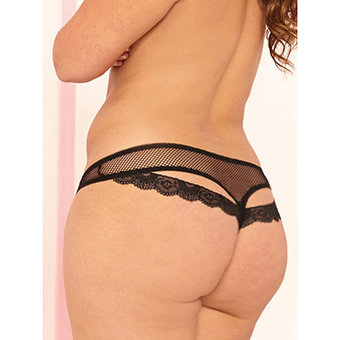 Seven til Midnight Plus Size Fishnet Thong with Key Charm