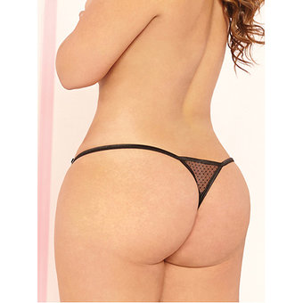 Seven til Midnight Plus Size Sheer Thong with Rhinestone Detail