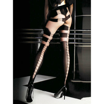 Roza Ballerina Faux Lace Up Tights